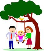 Family with child on swing