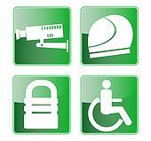 CCTV helmet padlock wheel chair access symbols