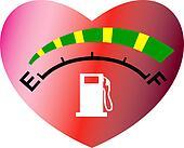 Fuel meter with heart