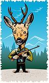 Deer hunter with rifle
