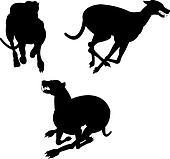 Greyhound racing silhouettes