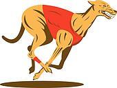 Greyhound racing side view