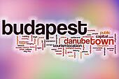 Budapest word cloud with abstract background