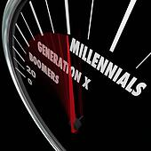 Millennials Generation X Baby Boomers Speedometer Ages