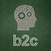 Business concept: Head With Gears and B2c on chalkboard background