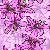 seamless background with pink lily.