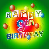 Happy Birthday Represents Cheerful Ninth And Parties