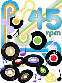 oldies 45 rpm rock and roll music records