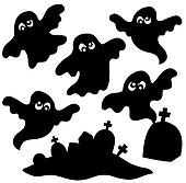 Scary ghosts silhouettes collection