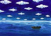 Boat under round clouds