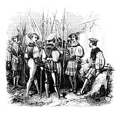 Military uniforms from the reign of Henry VIII, vintage engraving.