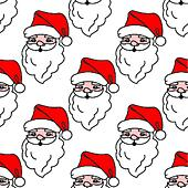 Christmas seamless pattern with cartoon Santa Claus