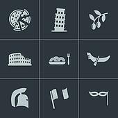 Vector black italian icons set