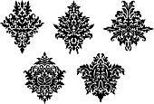 Set of five different foliate arabesques