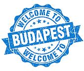 welcome to Budapest blue vintage isolated seal