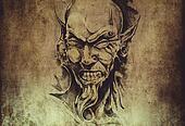 Tattoo art, sketch of a devil head