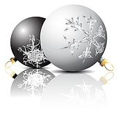 Black and white Christmas bulbs