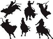 Six rodeo silhouettes. Vector illustration