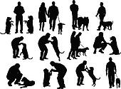 people silhouettes with dog