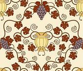 beautiful vine leaf and urn seamless tile design