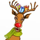 Christmas reindeer with gifts