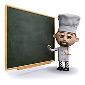 3d Chef at the blackboard