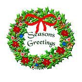 Christmas wreath illustrated