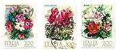 Italian stamps, prints of flowers