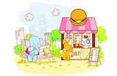 cartoon animals in the shop