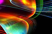 Music notes, colorful illustration on black background
