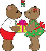 Kissing Bears Mistletoe