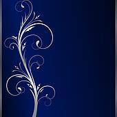 Elegant dark blue background with silver floral elements