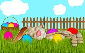 easter greeting card, Easter bunny sleeping in grass
