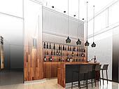 sketch design of lobby ,3d