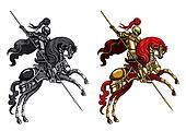 %u0421hampion Knight on a horseback