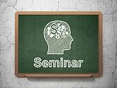 Education concept: Head With Finance Symbol and Seminar on chalkboard background