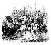Military Costumes of Henry VIII (Cavaliers), vintage engraving.