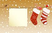 Christmas socks hanged on a clothesline