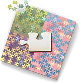 Big jigsaw piece on large puzzle of many shades