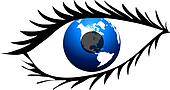 Eye with lashes and globe