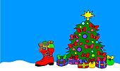 red boot with christmas tree