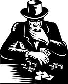 Man in top hat playing high stakes card game of poker