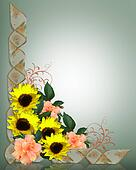 Floral Corner Design sunflowers ribbons
