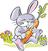 Cute bunny holding a carrot. Artistic
