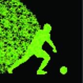 Soccer player winner vector background concept isolated on black made of triangular fragments explosion for poster