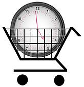 shopping cart with a clock - concept of buying time
