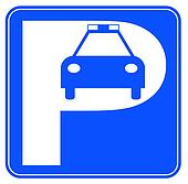 blue and white police car parking sign - illustration