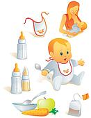 Icon set - baby nutrition