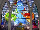 Stained glass window with cartoons