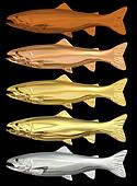 Chrome Trout Bodies - Isolated